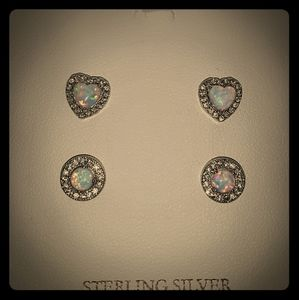 Silver opal and cubic zirconia earring set